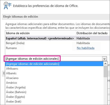 Lista Agregar idiomas de edición adicionales