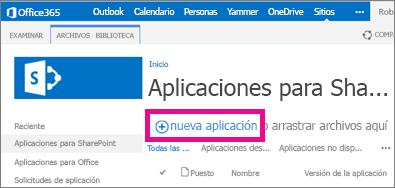 El nuevo vínculo de aplicación en las aplicaciones para biblioteca de SharePoint en el Catálogo de aplicaciones