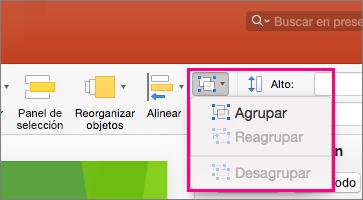 Muestra el icono Grupo en la cinta de opciones de PowerPoint 2016 para Mac