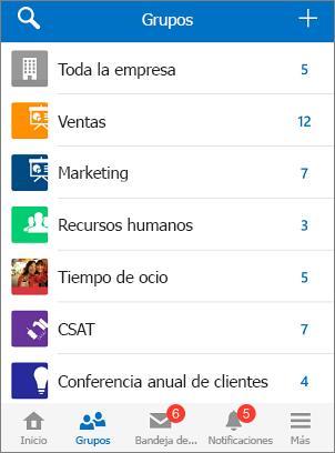 Captura de pantalla de grupos en la aplicación móvil de Yammer