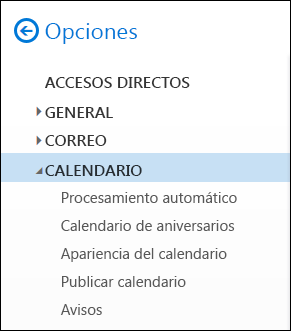 Opciones del calendario de Outlook en la web