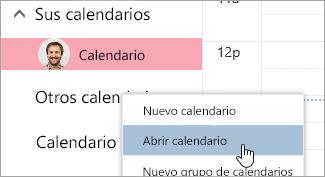 Captura de pantalla de la opción de calendario abierto