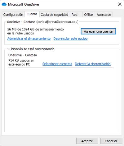 Ventana de configuración de escritorio de OneDrive donde puede Agregar una cuenta