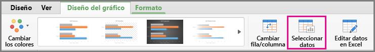 Seleccionar datos de gráfico de Office para Mac