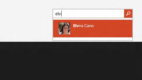 Cuadro de búsqueda en la aplicación contactos