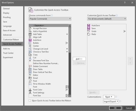 La pestaña Personalizar la barra de herramientas de acceso rápido en word para Windows opciones.