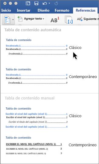 En la pestaña Referencias, haga clic en Tabla de contenido y elija un estilo de tabla de contenido automática en la galería.