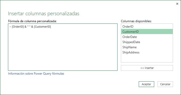 Especifique una fórmula de columna personalizada para combinar valores de columna.