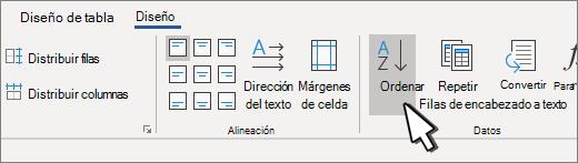 Botón Ordenar cuando hay una tabla seleccionada