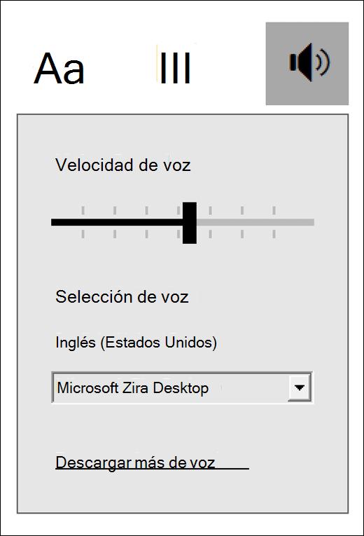 Menú Controles de voz en Lector inmersivo, parte de Herramientas de aprendizaje para OneNote.