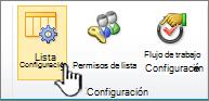 Botón de configuración de lista en la cinta de opciones de página