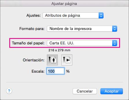 Seleccione un tamaño de papel, o bien cree un tamaño personalizado seleccionándolo en la lista Tamaño del papel.