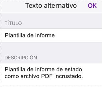 Agregar texto alternativo a un archivo insertado en OneNote para iOS