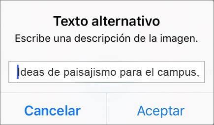 Menú de texto alternativo para imagen de Outlook para iOS