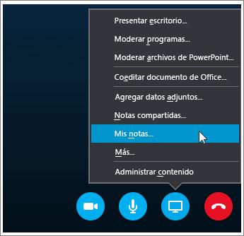Captura de pantalla de cómo compartir notas de OneNote 2016 en Skype Empresarial.