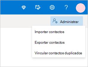 Menú Administrar contactos en Outlook.com
