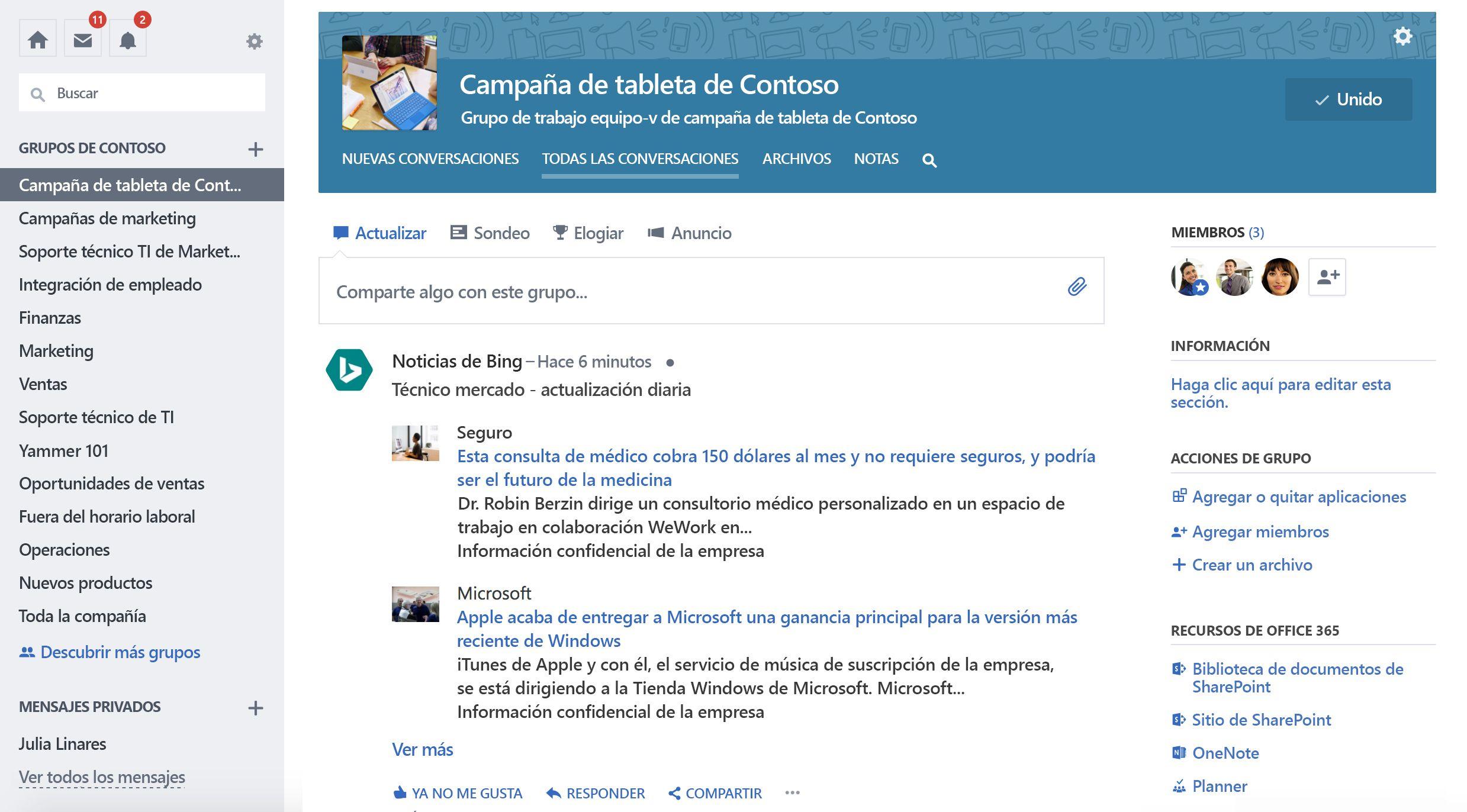 Captura de pantalla de la actualización del grupo de un servicio de terceros