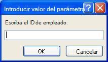 """Muestra un ejemplo de un cuadro de diálogo de valor de parámetro introducido esperado, con un identificador denominado """"Escriba el identificador de empleado"""", un campo en el que se debe especificar un valor, y botones aceptar y cancelar."""