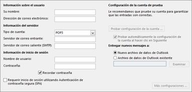 Introduzca la configuración de cuenta IMAP