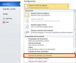 Imprimir documento con revisiones en Word