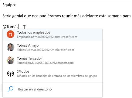 @mentions en Outlook en la web
