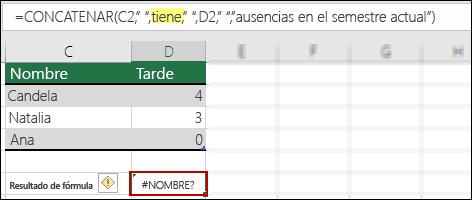 Error ¿#NOMBRE? causado porque faltan comillas dobles en valores de texto