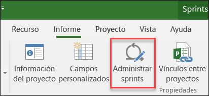 Botón de Sprints administrar