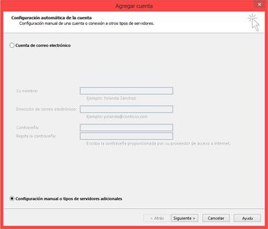Elegir Configuración manual o tipos de servidor adicionales