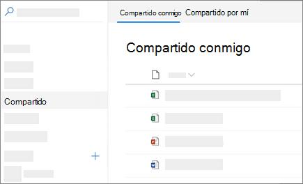 Captura de pantalla de la compartido conmigo ver en OneDrive para la empresa en la web