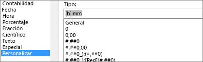 Diálogo de formato de celdas, comando personalizado, tipo [h]:mm