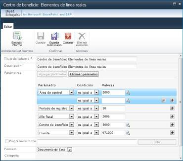 Los valores que el usuario puede modificar en la página de detalles de la configuración de informe varían en función de los permisos.