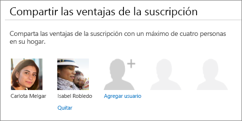 """Captura de pantalla de la sección """"Compartir las ventajas de la suscripción"""" de la página Compartir Office 365, que muestra el vínculo """"Quitar"""" bajo la imagen de un usuario."""