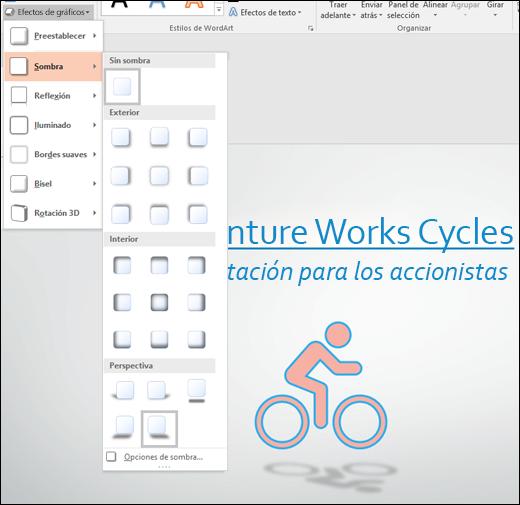 Agregar efectos, como sombras paralelas, a gráficos SVG con la herramienta Efectos de gráficos