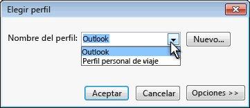 Cuadro de diálogo Selección de perfil de Outlook