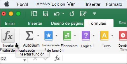Opción Insertar función en la cinta
