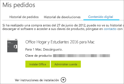 Muestra un pedido digital de Office, su clave de producto y botones para instalar Office y administrar su cuenta Microsoft.