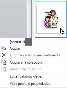 Para insertar una imagen, haga clic con el botón derecho en una imagen en miniatura y seleccione Insertar.