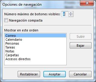 Cuadro de diálogo Opciones de navegación