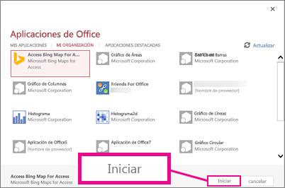 Cuadro de diálogo Aplicaciones de Office