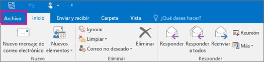 El aspecto de la cinta de opciones en Outlook 2016