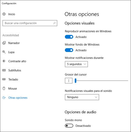 El panel Otras opciones de Accesibilidad en la configuración de Windows 10