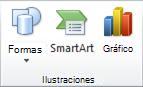 Grupo Ilustración de la pestaña Insertar en PowerPoint 2010.