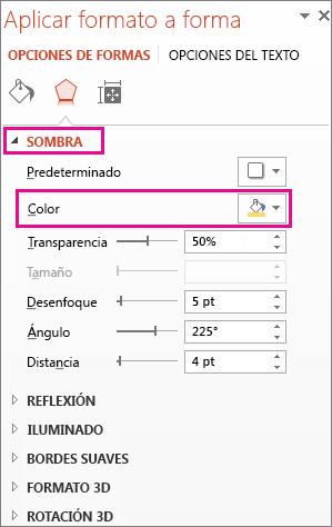 Botón Color de la pestaña Sombra en el panel Formato de forma