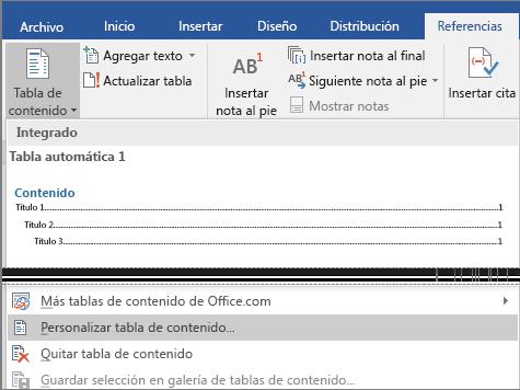 La opción Personalizar tabla de contenidos se muestra en el menú Tabla de contenidos.