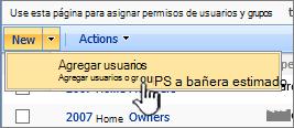 Botón Agregar usuario en lista desplegable