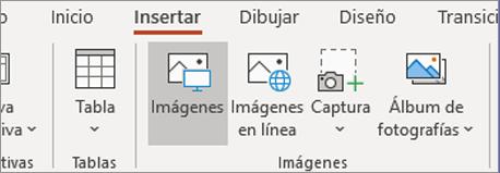En la pestaña Insertar, haga clic en Imágenes.