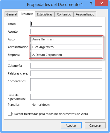 información personal y privada, Propiedades avanzadas en Word 2016