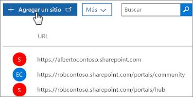 Opción Crear colección de sitios del Centro de administración de Office 365
