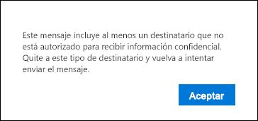 Advertencia para quitar del mensaje a los destinatarios no autorizados