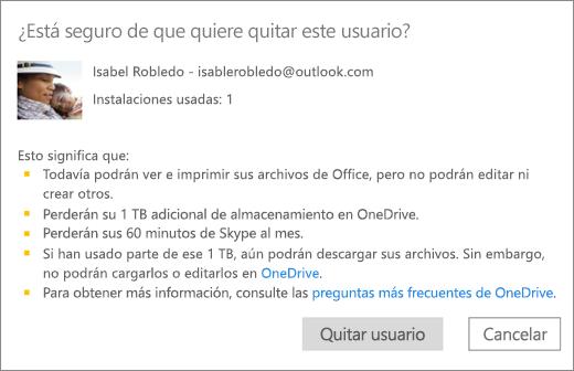 Captura de pantalla del cuadro de diálogo de confirmación que se muestra al quitar un usuario de su suscripción de Office 365 Hogar.